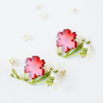Bica orecchini anemone rosso