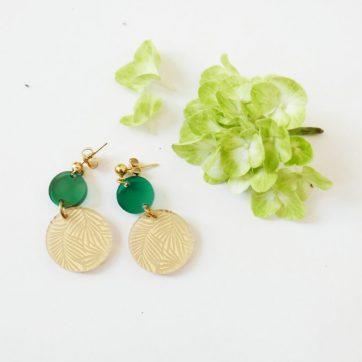 Bica orecchini double dots verdi
