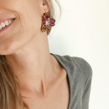 Bica orecchini pendenti blossom indossati