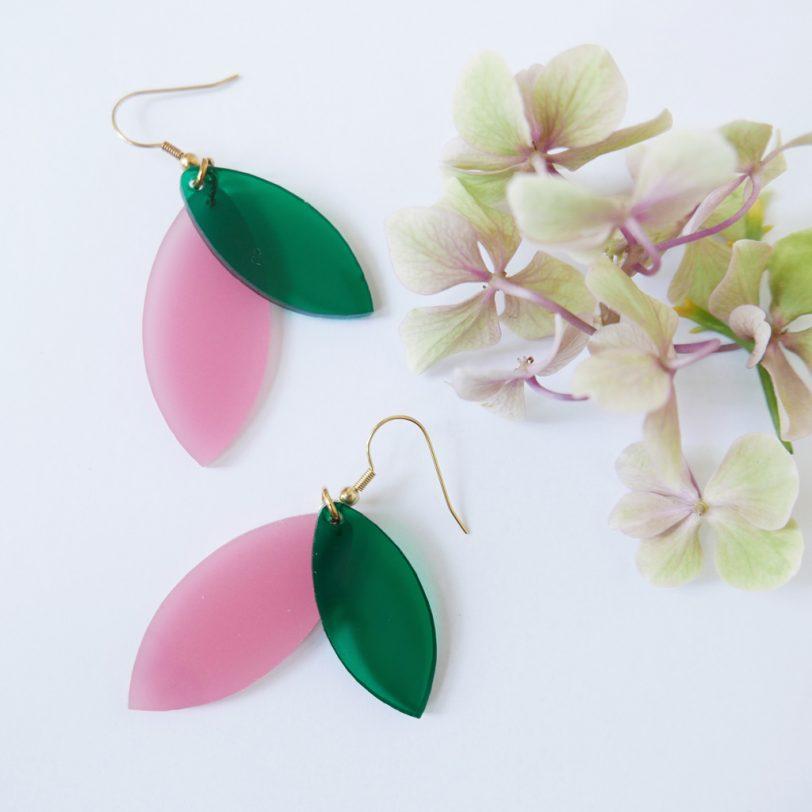 Bica orecchini pendenti foliage rosa verde