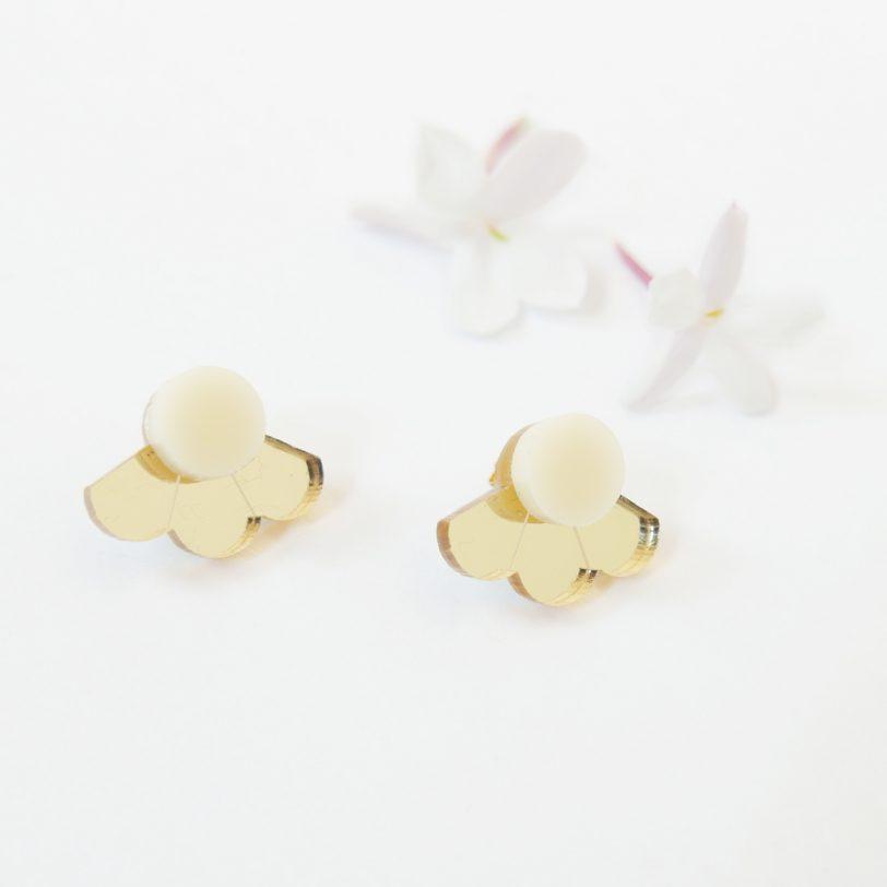 Bica small fan orecchini perno avorio