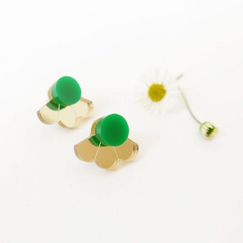Bica small fan orecchini perno verde