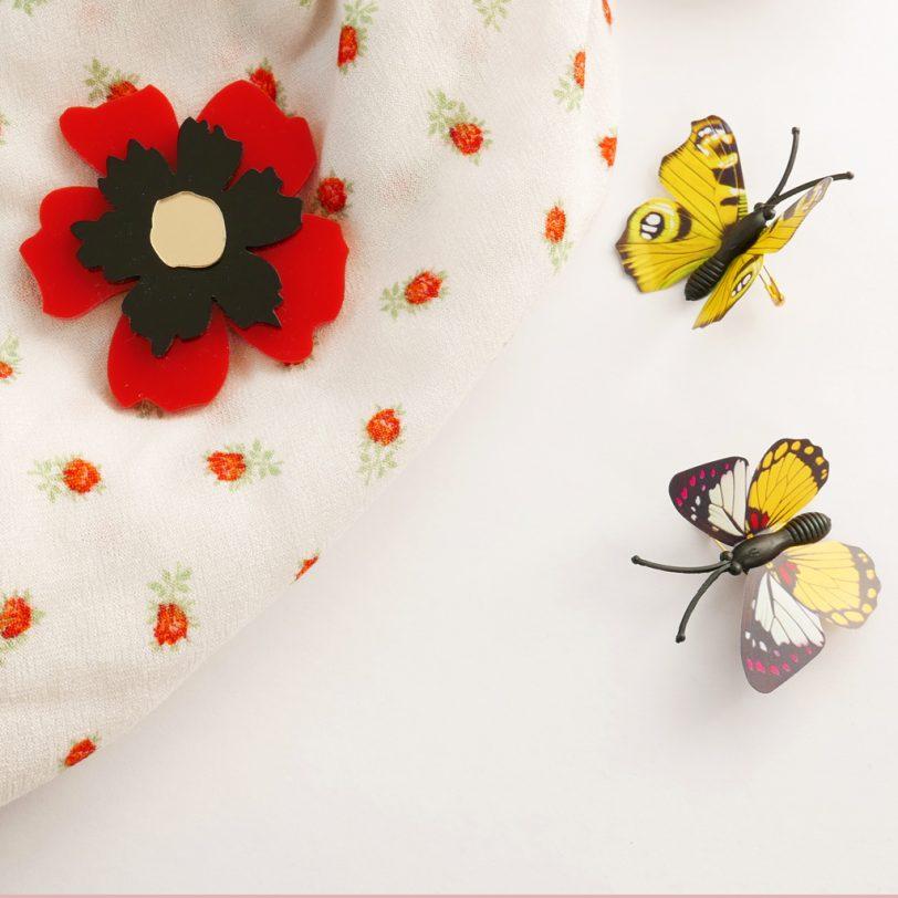 Bica spilla anemone rossa