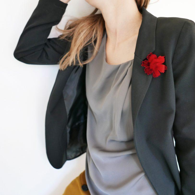 Bica spilla anemone specchio rosso
